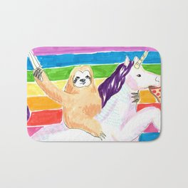 sloth and unicorn in rainbow Bath Mat