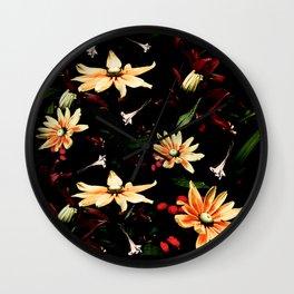 Floral Night II Wall Clock