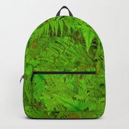 ABSTRACTED  GREEN  TROPICAL FERNS GARDEN ART Backpack