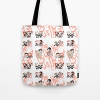 rocky horror Tote Bags featuring Rocky Horror Jelly Show by Nekodra
