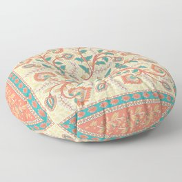 Square decorative design with ornament of flowers and leaves. Floor Pillow
