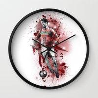 ronaldo Wall Clocks featuring Cristiano Ronaldo - Portugal by Hollie B