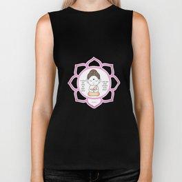 Cute little Buddha in a lotus flower Biker Tank