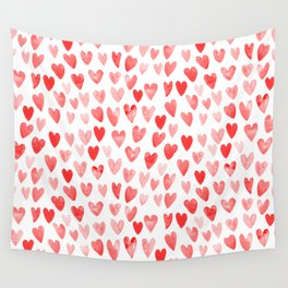 Watercolor heart pattern perfect gift to say i love you on valentines day Wall Tapestry