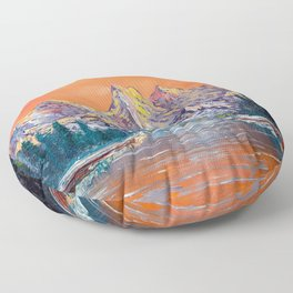 Mountains landscape at sunset Floor Pillow