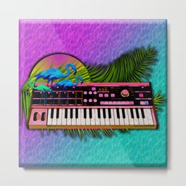 Vaporwave Synthesizer Metal Print