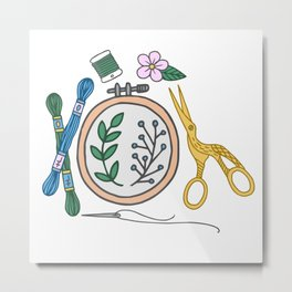 Embroidery | Embroidery Pattern | Embroidery Supplies Metal Print