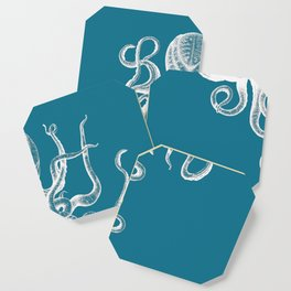 Vintage Octopus teal blue Coaster