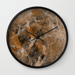Rusting Marble - Abstract Marble Effect Painting in gold, bronze, black and white Wall Clock