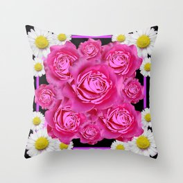 Black Pink on Pink Roses Purple Fuchsia & Daisy Flowers Art Design Throw Pillow