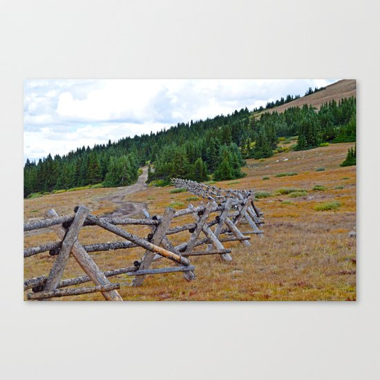 Fenceline in the fall Canvas Print