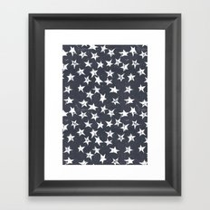 Linocut Stars - Navy & White Framed Art Print