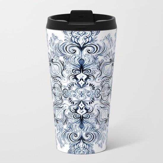 Indigo, Navy Blue and White Calligraphy Doodle Pattern Metal Travel Mug