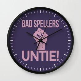 BAD SPELLERS UNTIE! (Purple) Wall Clock