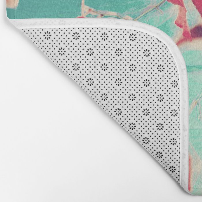 Our hearts are autumn leaves waiting to fall (Pink - Red fall leafs and brilliant retro blue sky) Bath Mat