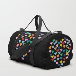Hearts Heart Black Duffle Bag
