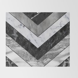 Shimmering mirage - grey marble chevron Throw Blanket