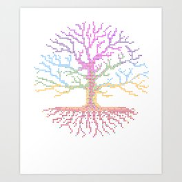 Rainbow Chakra Tree of Life - Real Stitch-able Color Coded Cross Stitch Chart Art Print