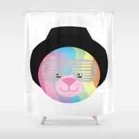 narnia Shower Curtains featuring Royal Hippie Rainbow Bondage Bear by YOSH FRIDAY