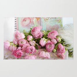 Shabby Chic Cottage Pink Floral Ranunculus Peonies Roses Print Home Decor Rug