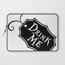 """Drink Me"" Alice in Wonderland styled Bottle Tag Design in Black & White Laptop Sleeve"