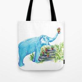 Blue elephant and succulents Watercolor Art Tote Bag
