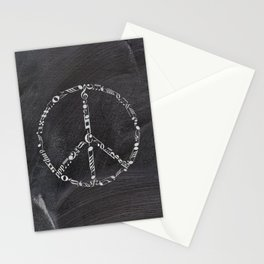 Music peace on chalkboard Stationery Cards