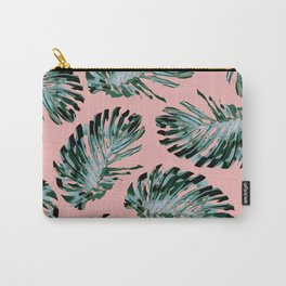 Pink and Green Tropical Leaf Print Carry-All Pouch