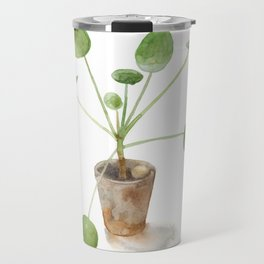 Pilea. Chinese money plant. Travel Mug