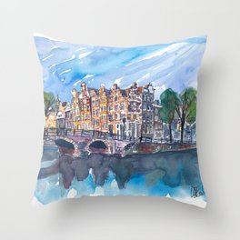 Amsterdam Netherlands Canal Sunset On Prinsengracht Throw Pillow