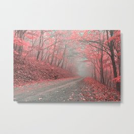 Misty Forest Road - Tickle Me Pink Metal Print
