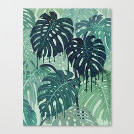 Monstera Melt (in Green) Canvas Print
