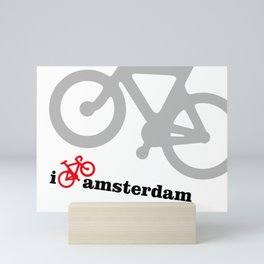 I Love Amsterdam - Red Bike Mini Art Print