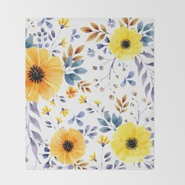 Yellow watercolor flowers Throw Blanket