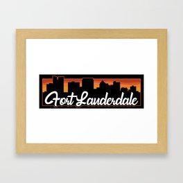 Vintage Fort Lauderdale Florida Sunset Skyline T-Shirt Framed Art Print