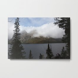 Snow Capped Mountains and Lake Metal Print