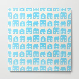 Little Scandi Houses in Blue Metal Print