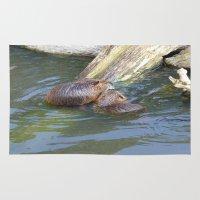 beaver Area & Throw Rugs featuring beaver love by Mathilde Nieuwenhuis