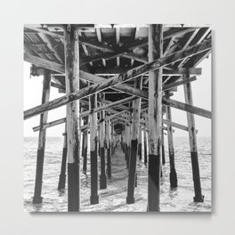 Balboa Pier Print {3 of 3} | Newport Beach Ocean Photography B&W Summer Sun Wave Art Metal Print