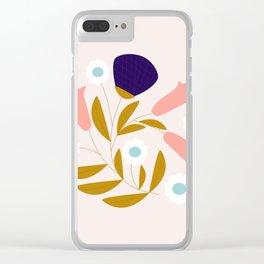 Cute retro flower Clear iPhone Case