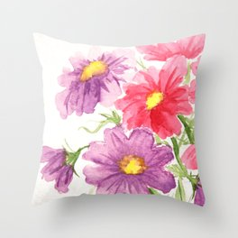 Pink and Purple Cosmos Throw Pillow
