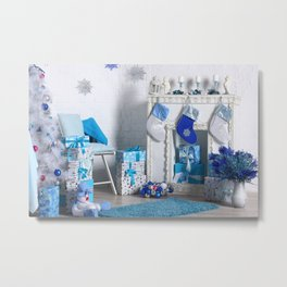 Christmas interior in blue color. Christmas tree with fireplace, Christmas holiday and New Year back Metal Print