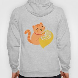 Cat Playing French Horn design Musician Orchestra Gift Hoody