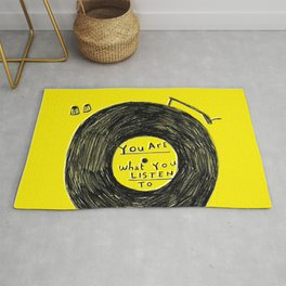 you are what you listen to FULL YELLOW Rug