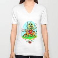 hindu V-neck T-shirts featuring Durga Hindu Goddess by MARICAMA