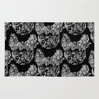 botanical Area & Throw Rugs featuring Botanical frenchie by Huebucket