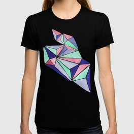 Watercolor colorful mint triangles. Watercolor geometry 3D effect. T-shirt