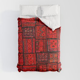 -A36- Lovely Red Traditional Moroccan Pattern Artwork. Comforters