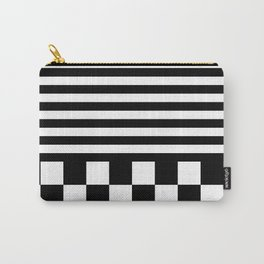 STRIPES & CHECKS (BLACK-WHITE) Carry-All Pouch