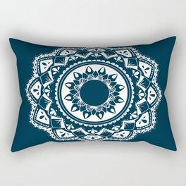 Warrior white mandala on blue Rectangular Pillow